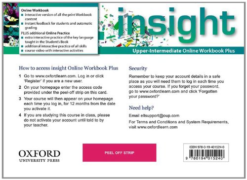 Insight Upper-Intermediate Online Workbook Plus Card with Access Code