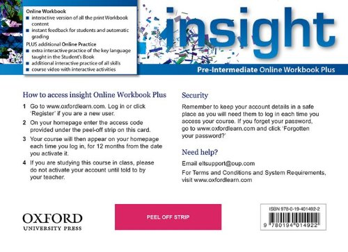 Insight Pre-Intermediate Online Workbook Plus Card with Access Code