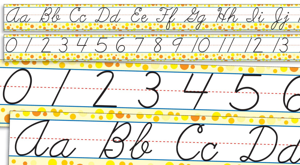 Standard Cursive Alphabet and Numbers 0-30 Bulletin Board