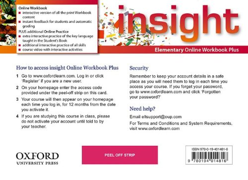 Insight Elementary Online Workbook Plus Card with Access Code