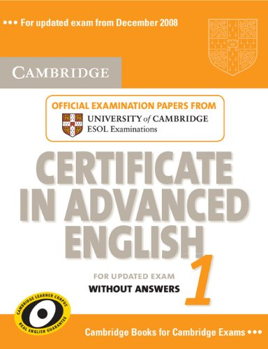 Cambridge Certificate in Advanced English 1 for updated exam Student's Book without answers