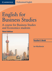 English for Business Studies (Third Edition) Teacher's Book