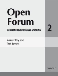 Open Forum 2 Answer Key and Test Booklet