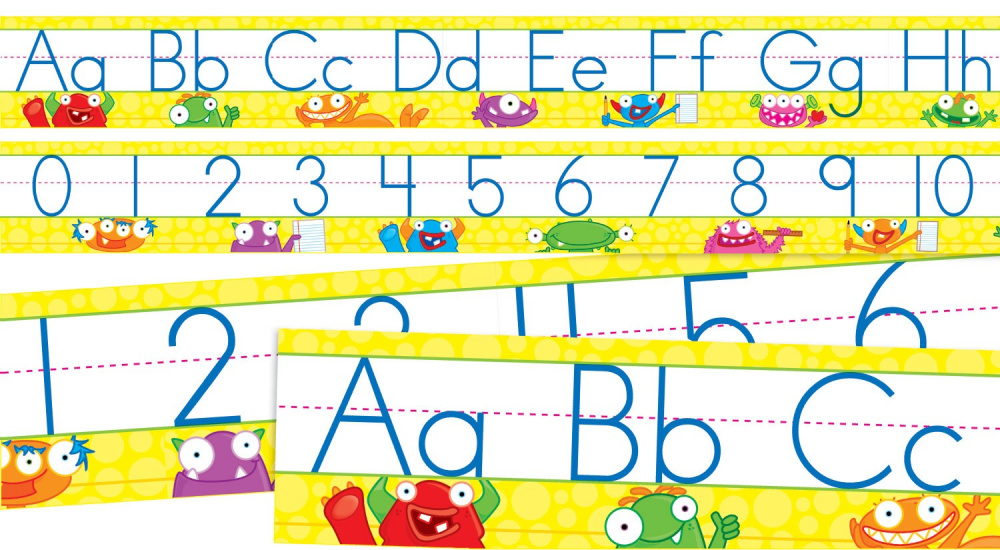 Monsters Alphabet and Numbers 0-30 Bulletin Board, Multiple Colors