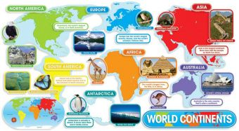 World Continents Bulletin Board (37 pieces)