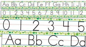 Standard Manuscript Alphabet and Numbers 0-30 Bulletin Board